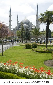 ISTANBUL, TURKEY - MAY 04, 2009: View of the Blue Mosque from the surrounding gardens