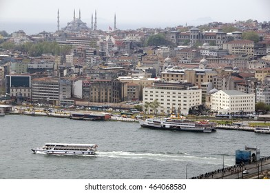 ISTANBUL, TURKEY - MAY 04, 2009: Boats sailing on the waters of the Bosphorus river