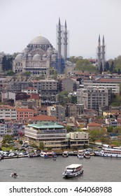 ISTANBUL, TURKEY - MAY 04, 2009: The Bosphorus River and view of the Suleymaniye Mosque