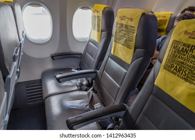 Istanbul, Turkey - May 04 2019: Sabiha Gokcen International Airport,passenger seats airline Pegasus in the cabin