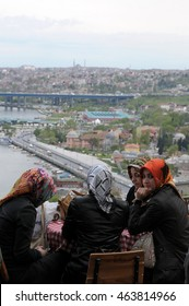 ISTANBUL, TURKEY - MAY 05, 2009: Group of young women , drinking tea on the terrace of the Cafe Pierre Loti