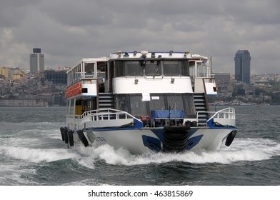 ISTANBUL, TURKEY - MAY 05, 2009: A ferry browsing the Bosporus River