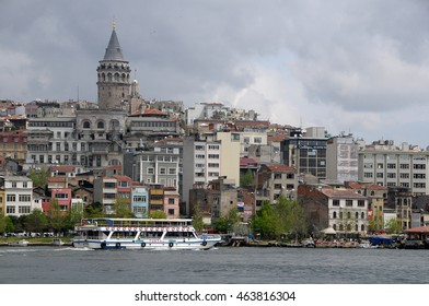 ISTANBUL, TURKEY - MAY 05, 2009: View of Beyoglu hill, and Galata Tower from the Bosphorus river