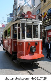 ISTANBUL, TURKEY - MAY 05, 2009: Tram crossing the street coming from Taksim Square