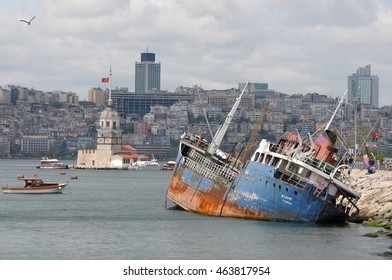 ISTANBUL, TURKEY - MAY 05, 2009: Old cargo ship aground off the Leandro Tower on the Bosphorus river