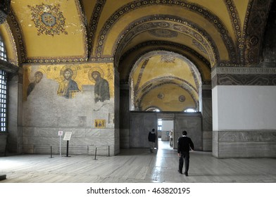 ISTANBUL, TURKEY - MAY 05, 2009: Interior walls and arches of St. Sophia, decorated with traces of Byzantine mosaics