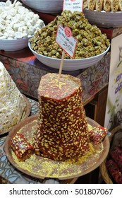 ISTANBUL, TURKEY - MAY 05, 2009: Typical sweets and candies, in a shop Grand Bazaar