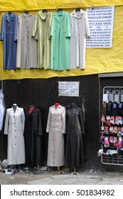 ISTANBUL, TURKEY - MAY 05, 2009: Suits and gowns, exposed on the outside of a tent city