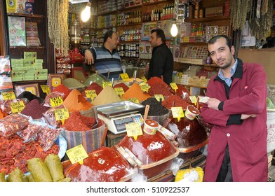 ISTANBUL, TURKEY - MAY 05, 2009: Seller of a spice shop in the Grand Bazaar