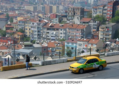 ISTANBUL, TURKEY - MAY 05, 2009: Taxi and pedestrian road, overlooking the city from the districts