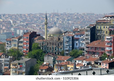 ISTANBUL, TURKEY - MAY 05, 2009: View of a city neighborhood with a small mosque among residential buildings