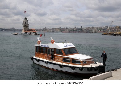 ISTANBUL, TURKEY - MAY 05, 2009: Luxurious boat and tower of San Leandro, on the Bosphorus