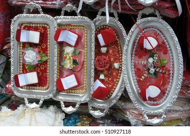 ISTANBUL, TURKEY - MAY 05, 2009: Trays and cases, special wedding in a downtown shop