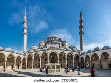 ISTANBUL, TURKEY - MAY 05, 2017: Exterior view of Suleymaniye Mosque through arches in its courtyard in Istanbul, Turkey. The mosque was constructed under instruction of Suleymaniye the Magnificent.