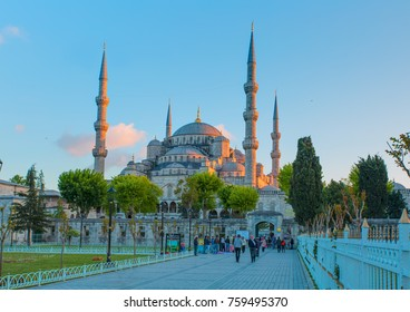 ISTANBUL, TURKEY - MAY 06, 2014: The Blue Mosque, (Sultanahmet Camii), Istanbul, Turkey.  Visitors travel visit ancient istambul (sultanahmet square) blue mosque