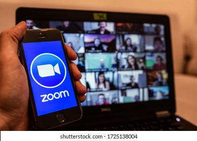 ISTANBUL, TURKEY - MAY 07, 2020: Popular Zoom video conference app icon on a mobile device