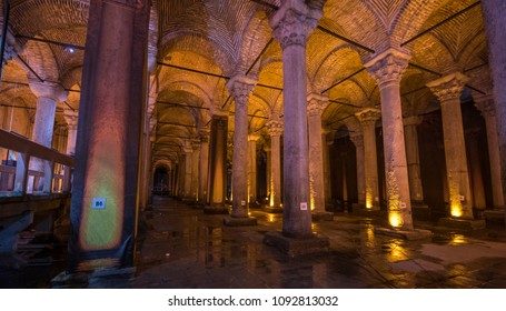 Istanbul, Turkey - May 08, 2018. Underground Basilica Cistern (Yerebatan Sarnici), one of the largest ancient cisterns that lie beneath the city Istanbul, was built in the 6th century