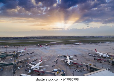 Istanbul, Turkey - May 09 2017: General operation view from Ataturk Airport, where is the base for Turkish Airlines