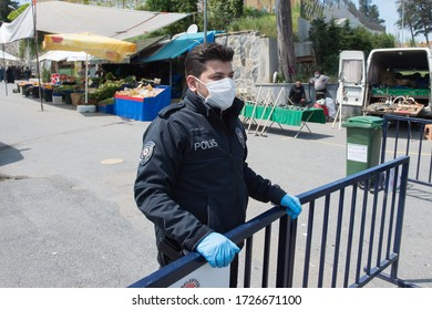 Istanbul, Turkey, May 09 2020:  Police check on the market place due to coronavirus