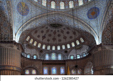 ISTANBUL, TURKEY - MAY 1, 2012: Part of Blue mosque interior
