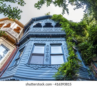 Istanbul, Turkey - May 1, 2016: Historical wooden residential buildings, classic Ottoman wooden architecture in Kuzguncuk,Istanbul on May 1, 2016.