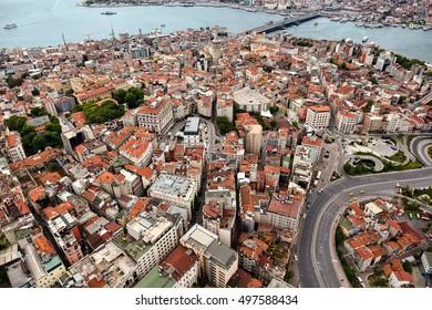 Istanbul, Turkey - May 1, 2016 : Istanbul Galata from air