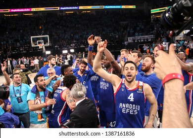 ISTANBUL / TURKEY - MAY 1, 2019: Players of Anadolu Efes celebrate their victory during the Turkish Airlines EuroLeague 2018-19 Play-Off game 5 Anadolu Efes vs Barcelona Lassa at Sinan Erdem Dome.