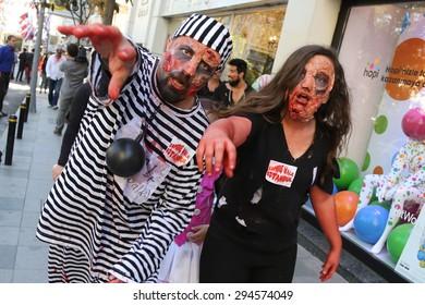 ISTANBUL, TURKEY - MAY 10, 2015: People walking in Nisantasi Streets during zombie walk Istanbul