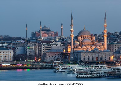 ISTANBUL, TURKEY - MAY 11 2015 : New mosque and Hagia Sophia
