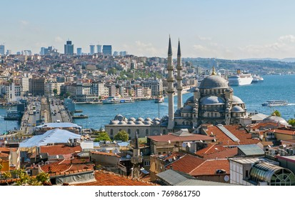 ISTANBUL, TURKEY - MAY 11, 2015: Photo of View of the New Mosque, the Galata Bridge, the Golden Horn Bay and the Bosphorus.