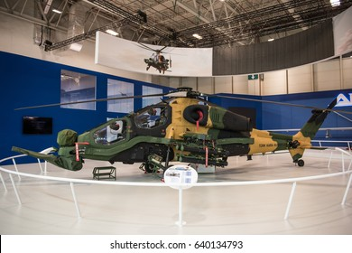 """ISTANBUL, TURKEY - MAY 11: Turkish attack helicopter """"T129 ATAK"""" on May 11, 2017 in Istanbul, Turkey."""