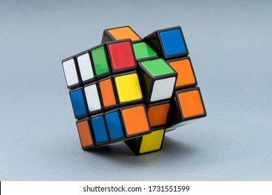 ISTANBUL, TURKEY - MAY 12, 2020: Rubik's cube on the white background. Rubik's Cube invented by a Hungarian architect Erno Rubik in 1974.