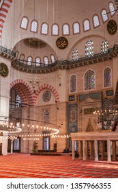 ISTANBUL, TURKEY: MAY 13, 2008. Inside the large Suleymaniye mosque in central Istanbul.