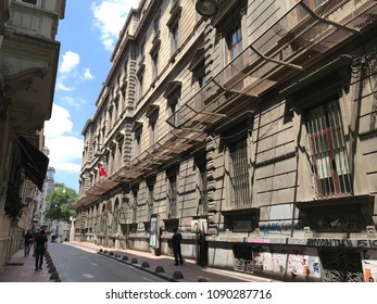 Istanbul, Turkey - May 13, 2018: Meselik Street in Beyoglu. There are old Greek and Armenian schools along the street that links Istiklal Avenue and Siraselviler Road, Istanbul.