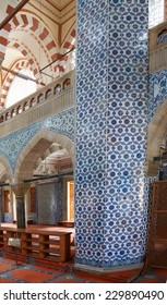 ISTANBUL, TURKEY - MAY 14, 2014 - Interior mosaics decorating the    Rustem Pasha Mosque,  in Istanbul, Turkey