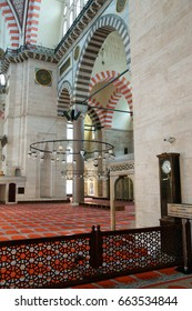 ISTANBUL, TURKEY - MAY 14, 2014 -   Interior of prayer space of the Suleymanie Mosque,  in Istanbul, Turkey