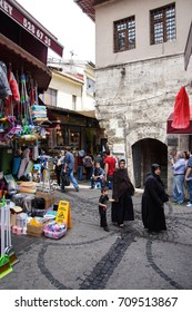 ISTANBUL, TURKEY - MAY 14, 2014 - Veiled Muslim women shopping near the Egyptian market  in Istanbul, Turkey