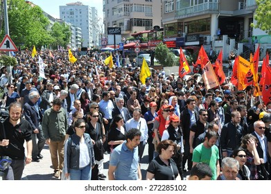 ISTANBUL, TURKEY - MAY 14 :  Memorial march was held for the deceased worker on May  14, 2014 in Istanbul, Turkey