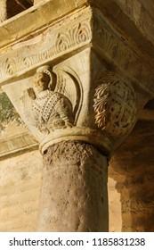 ISTANBUL, TURKEY - MAY 15, 2014 - Corinthian capital carving in Chora Church (Kariye Muzee ) in Istanbul, Turkey