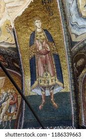 ISTANBUL, TURKEY - MAY 15, 2014 - Mosaics decorate the interior of the Chora Church (Kariye Muzee ) in Istanbul, Turkey
