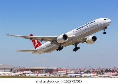 Istanbul, Turkey – May 15, 2014: Turkish Airlines Boeing 777 airplane at Istanbul Ataturk Airport (IST) in Turkey.