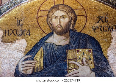 ISTANBUL, TURKEY - MAY 15, 2014 -Jesus Christ Pantocrater, enthroned,  mosaic,  Outer Narthex, Chora Church (Kariye Museum) in Istanbul, Turkey