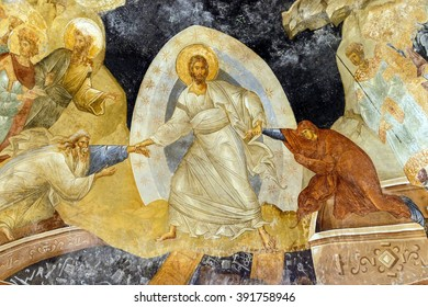 ISTANBUL, TURKEY - MAY 15, 2014 - Fresco - Resurrection, Jesus Christ pulling Adam and Eve from their coffins in hell,  Parekklesion, Chora Church (Kariye Muzee ) in Istanbul, Turkey