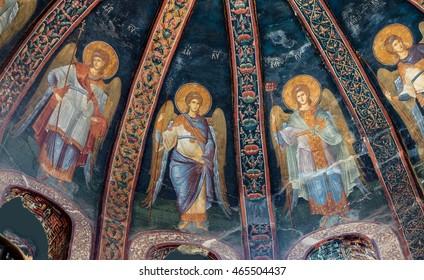 ISTANBUL, TURKEY - MAY 15, 2014 - Fresco of archangels, Chora Church (Kariye Muzee ) in Istanbul, Turkey