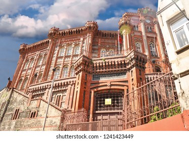 ISTANBUL, TURKEY - MAY 15, 2016: Phanar Greek Orthodox College (Turkish: Fener Rum Lisesi) in Balat district. Balat is popular, trendy hipsters and authentic place.
