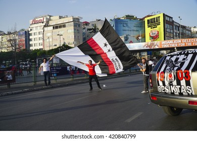 Istanbul, Turkey - May 15, 2016: BJK or Besiktas won The Turkish Football League. So Besiktas Football Fans celebrated the championship in streets of Besiktas.