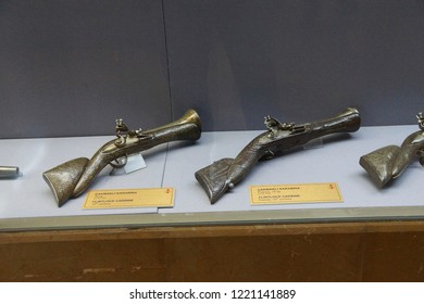 ISTANBUL, TURKEY - MAY 16, 2014 - Unique inlaid pistol and multibarreled hanguns,  , Askeri Museum, Istanbul,  in Istanbul, Turkey