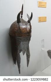 ISTANBUL, TURKEY - MAY 16, 2014 - Ottoman infantry helmet,  , Askeri Museum, Istanbul,  in Istanbul, Turkey