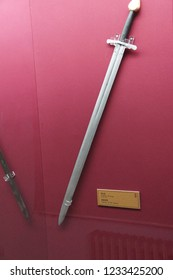 ISTANBUL, TURKEY - MAY 16, 2014 - Turkish swords and scabbards,  , Askeri Museum,  in Istanbul, Turkey
