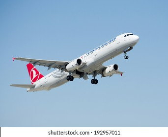 ISTANBUL , TURKEY - MAY 16, 2014: Aircraft of Turkish Airlines, is taking off from Istanbul Ataturk International Airport on May 16, 2014. The aircraft is an Airbas A 312